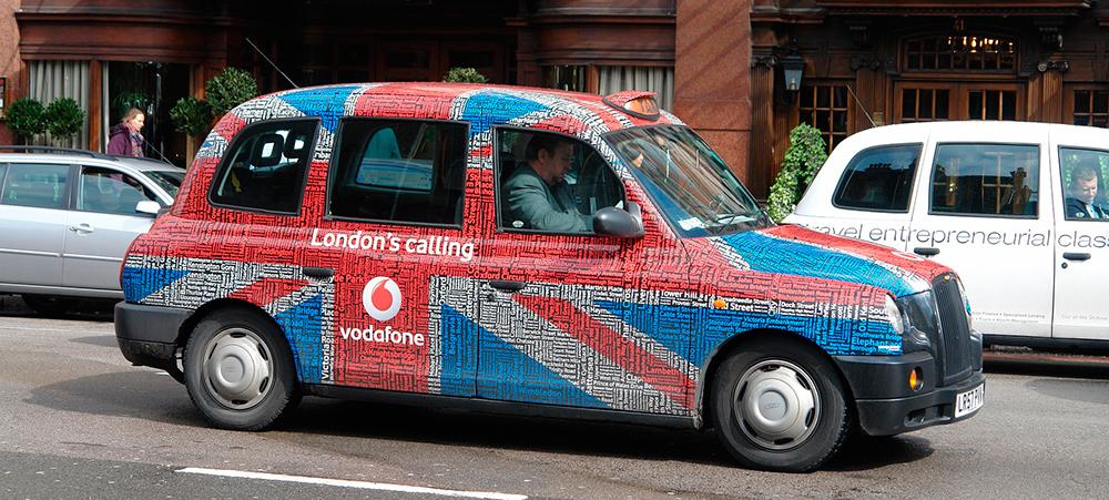 publicidad en un taxi