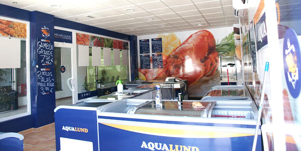 rotulación interior tienda aqualund