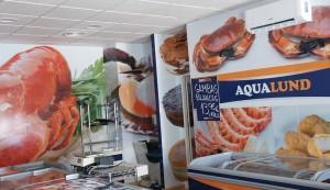 rotulación pared tienda aqualund