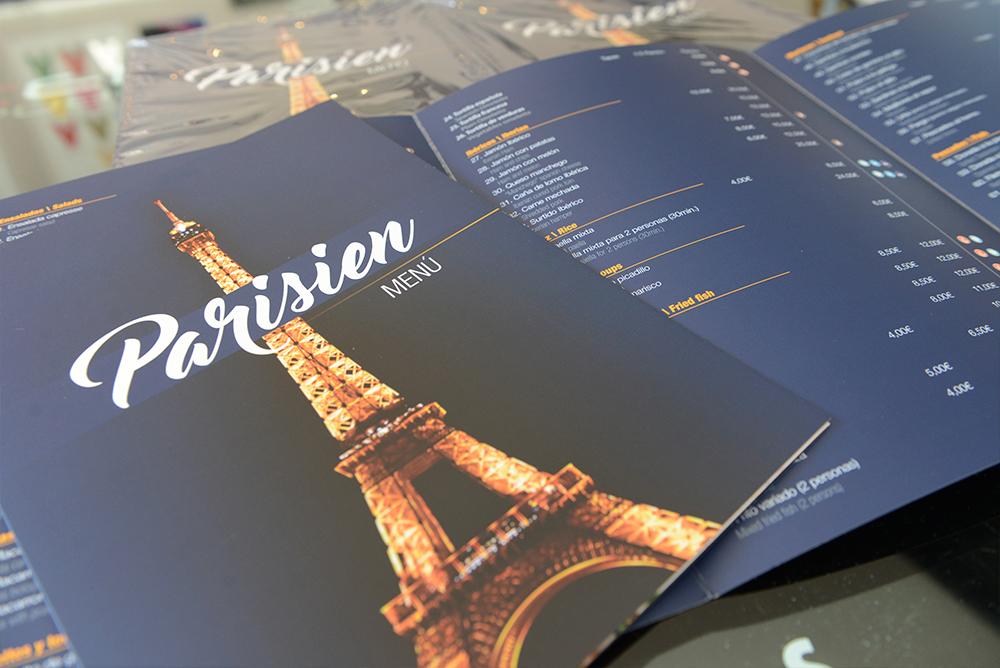 impresión digital carta restaurante